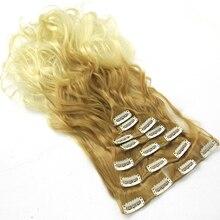 Soowee 7 шт./компл. Длинные Вьющиеся Каштановые Блондинка Серый Ombre Расширение Волос Клип Шиньон Aplique Де Cabelo