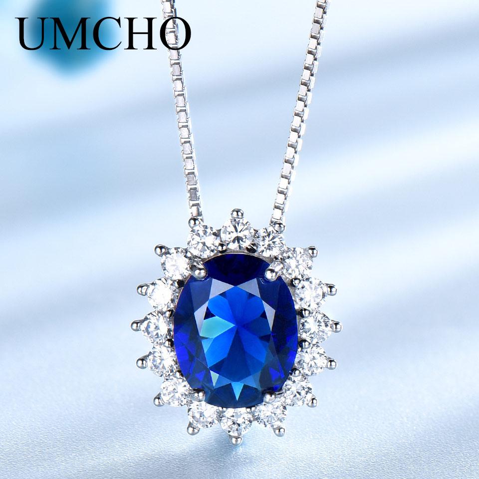 UMCHO 10 * 8mm Mavi Sapphire Boyunbağılar və Kolye 925 Sterling - Gözəl zərgərlik - Fotoqrafiya 1