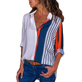 Rogi Women Blouses 2019 Color Block Striped Shirt Elegant Office Lady Blouse Casual Long Sleeve Button Shirt Tops Chemise Femme