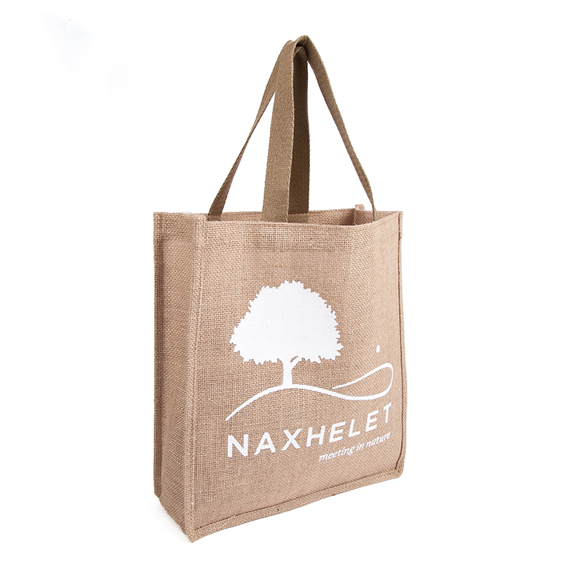 wholesale 500pcs/lot Reusable High quality Promotional Jute shopping tote bags with leather handle customized company logo Ads tote bag