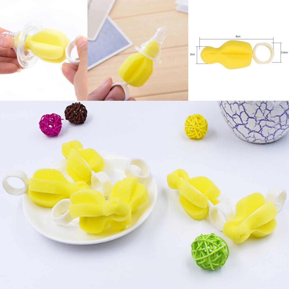 1pcs New 360 Degree Rotating Sponge Yellow Baby Nipple Brush Babies Teat Cleaning Feeding Bottle Brushes Infant Pacifier Cleaner