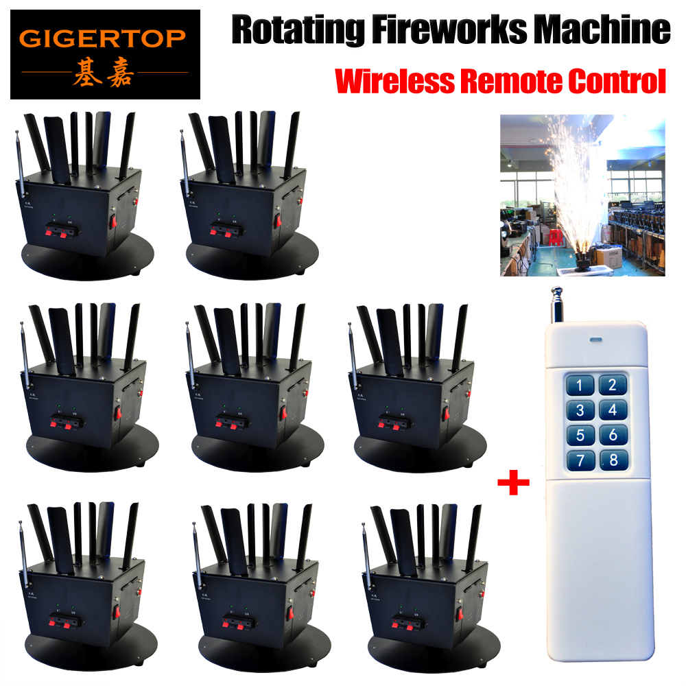 Free Shipping 8pcs/lot+1pcs Wireless Remote Console Rotating Fireworks Machine DMX 512 8Chs Control Cold Fireworks TP-T12B dhl shipping battery working cold fireworks machine console dmx wireless 2 4g usb led lamp speed fireworks spary shape button