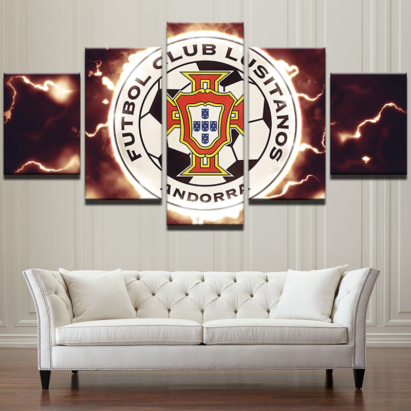 Canvas Painting Living Room Wall Poster 5 Panel Football Sport Club ...