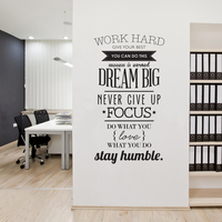 Work Hard Wall Quotes Motivational Poster Letras Office Home Decor Wall Art Letters Stickers Size 100x56cm
