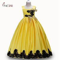 MUABABY Girls Princess Dresses Children Flower Embroider Summer Party Costume Sleeveless Sundress Kids Girl Deluxe Wedding