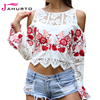 Jahurto Embroidered Floral Women Blouse Crochet Lace Patchwork Shirt Off Shoulder Flare Sleeve See Through Sexy