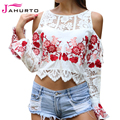 Jahurto Embroidered Floral Women Blouse Crochet Lace Patchwork Shirt Off Shoulder Flare Sleeve  See Through Sexy Crop Top