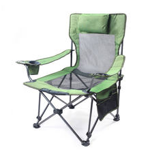 Fishing Chair Portable Folding Beach Chairs Seat Pocket Bottle Hole Camping 150kg Attachable Movable Pillow Breathable Net Chai(China)