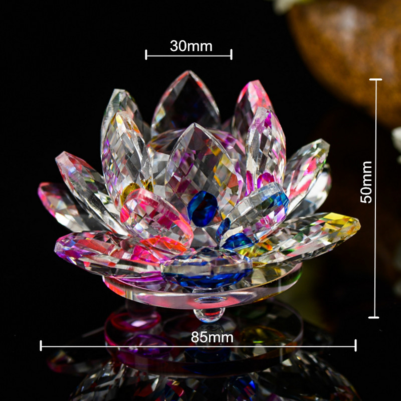 Various Colors 85mm Crystal Lotus Crafts Glass Flower Miniatures Paperweight Table Ornaments Gift Home Decoration Accessories