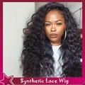 Synthetic Lace Front Wi150% Density Fashion Long Curly Wigs Natural Black 1b#Heat Resistant Glueless Lace Front Wig Black Women