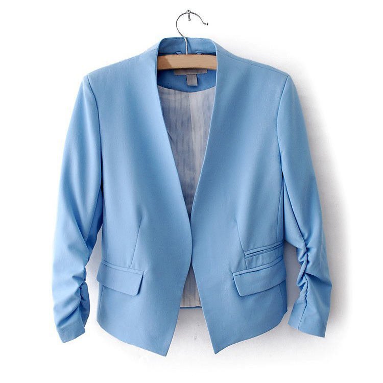 TFGS New Fashion Spring Autum Solid Color Women 3/4 Sleeve Pockets None Button Woman Slim Short Suit Jacket