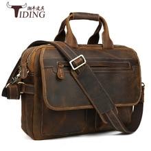 TIDING Luxury Genuine Crazy Horse Leather Men Messenger Bag Handbags Briefcase Shoulder Bag Travel Business Laptop Crossbody Bag