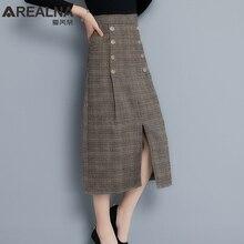 Винтажная шерстяная клетчатая юбка с карманом, осенне-зимняя повседневная женская юбка в стиле ретро с завышенной талией, женская элегантная юбка миди на пуговицах