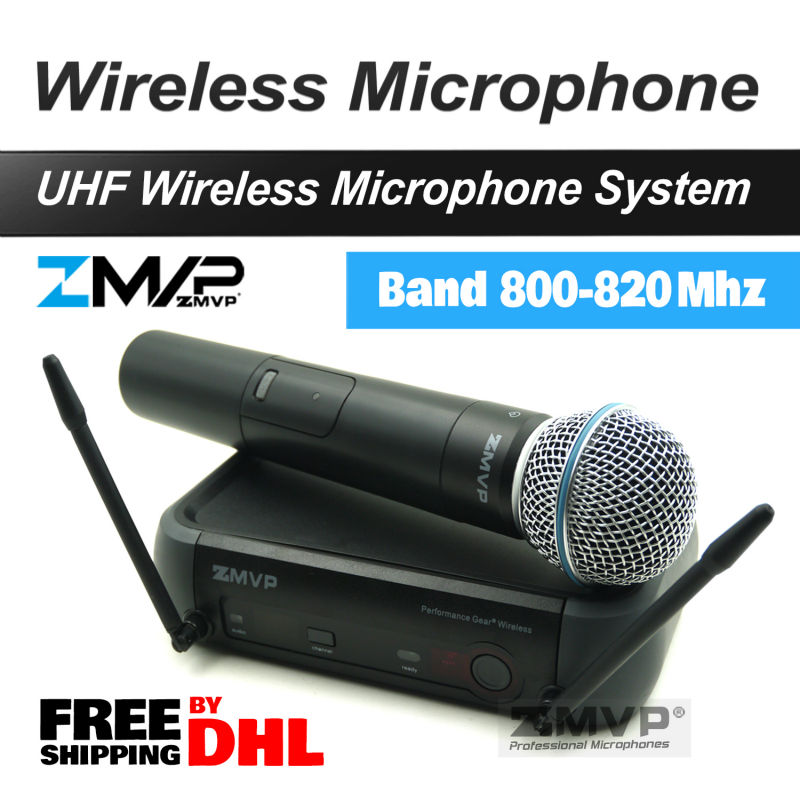 Free Shipping by DHL.!! UHF Wireless Microphone System With Super Cardioid Handheld Transmitter Microfone Karaoke Clear Sound! free shipping pgx pgx24 beta58 uhf karaoke wireless microphone system with super cardioid beta handheld microfone microfono mic