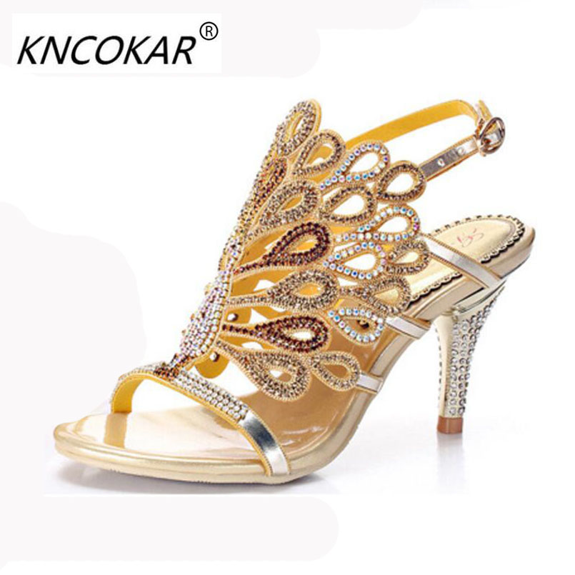KNCOKAR The 2018 palace finches summer new style glamour of water drill sandals high end inset