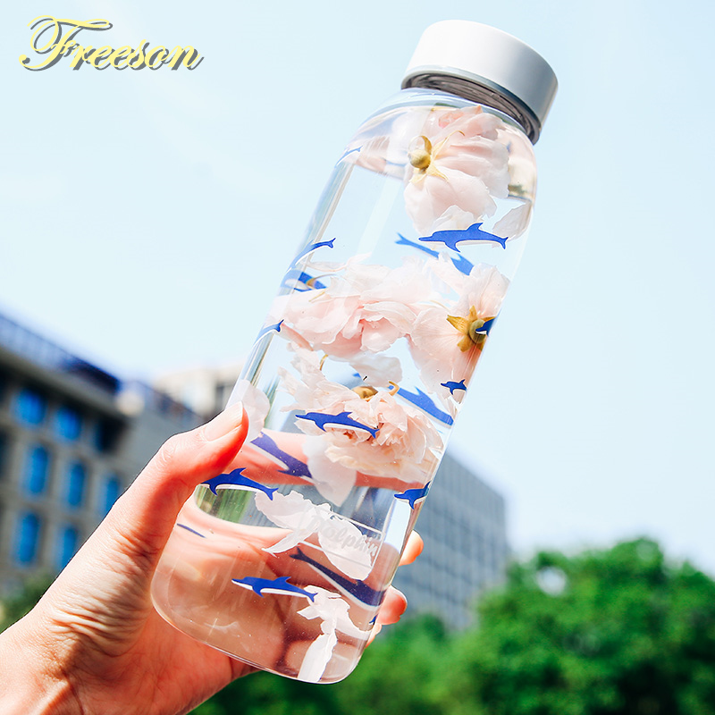 800ml Dolphin Glass Water Bottle with Sleeve Tea Infuser Creative Balloon Sport Bottles Camping Bottle Tour Drinkware
