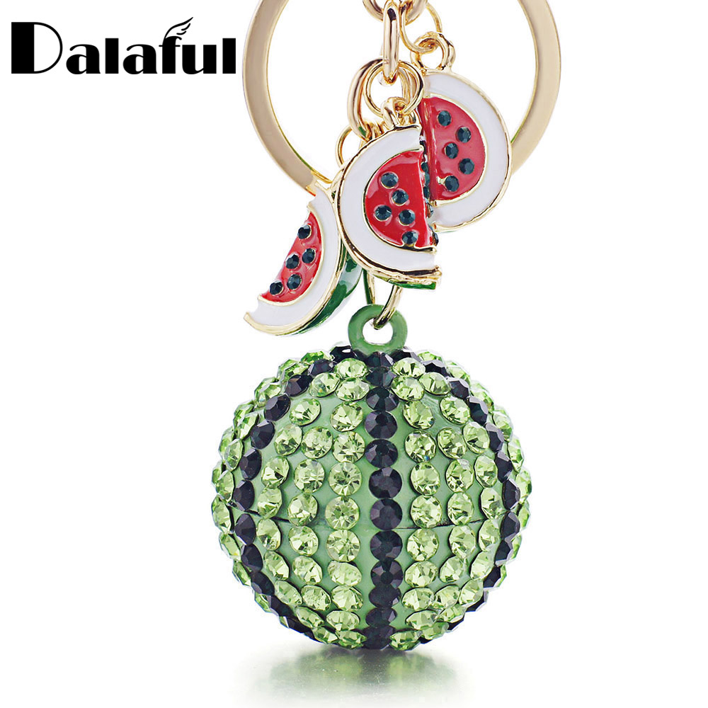 Dalaful Creative Green Watermelon Ball Pendant Key Chain Ring Metal Keychain keyring for Women Bag Car Keyfobs K340