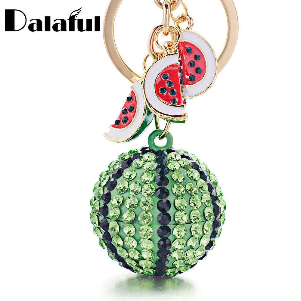 Dalaful Creative Green Watermelon Ball Pendant Key Chain Ring Metal Keychain Keyring For Women Bag Car Keyfobs K340