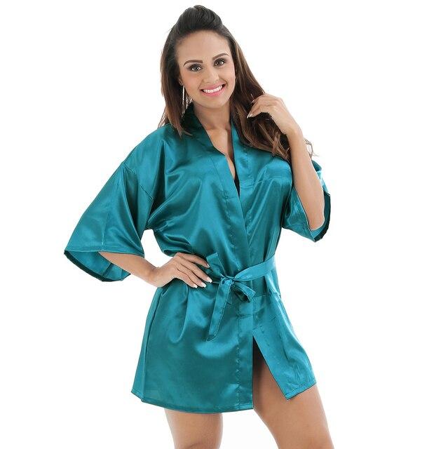 Hot Sale Chinese Women s Satin Robe Gown Sexy Mini Short Bathrobe Kimono  Solid Blue Nightgown Sleepwear Size S M L XL XXL 0705 564ec20f6