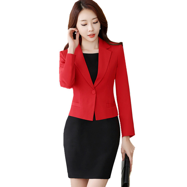 Fmasuth Women Suits Blazer Suit Set 2 Pieces Long Sleeve Red Blazer