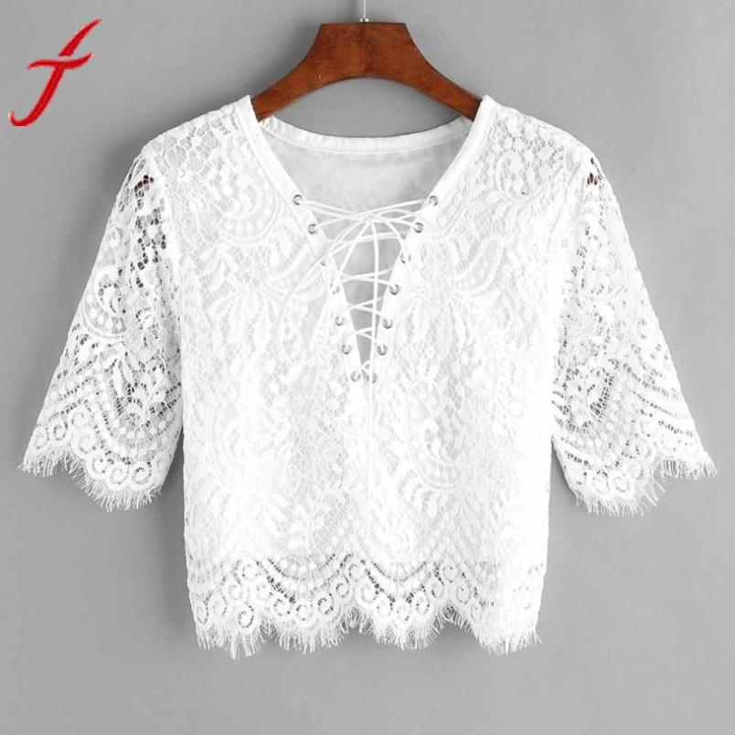 Back To Search Resultswomen's Clothing Sexy Lace White Blouse 2019 Women Fashion New V Neck Hollow Out Tank Tops Short Sleeve Bandage Eyelet Lace Up Blusa Complete Range Of Articles