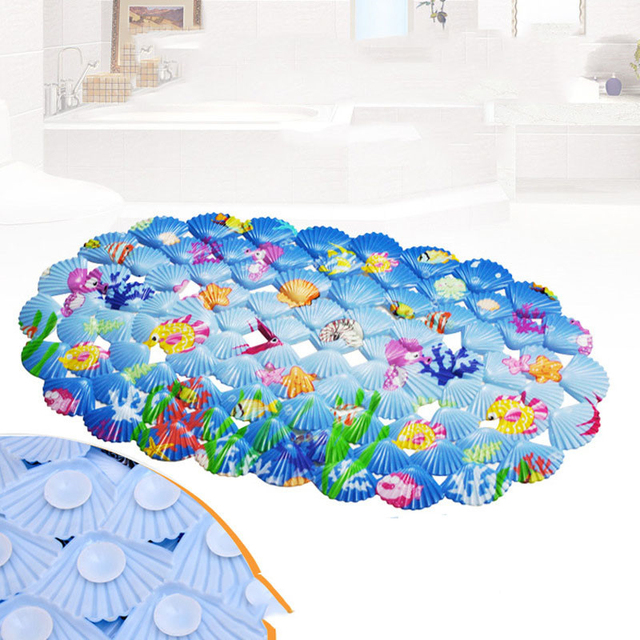 39*70cm Blue cartoon Bath mats cartoon shell bathroom suction cup ...