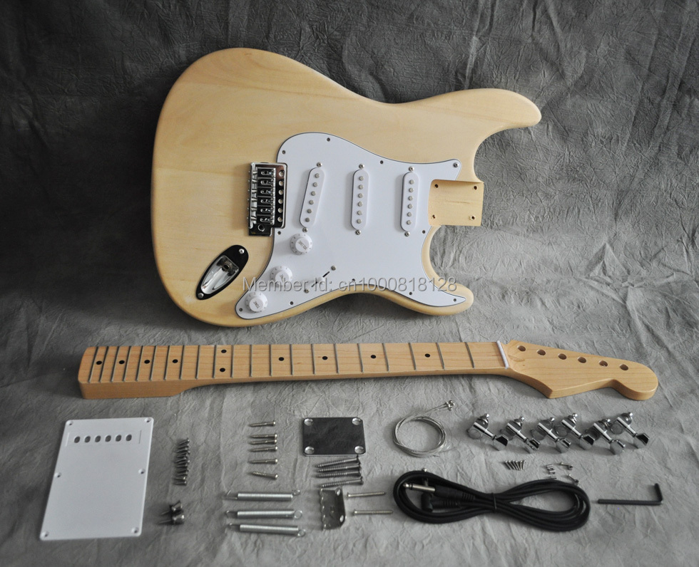 DIY Electric Guitar Kit ST Style Basswood Body Maple Neck Fingerboard 21 Fret(China)