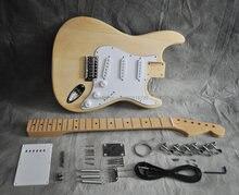 Kit de guitarra elétrica diy, estilo st, corpo, bordo, pescoço, dedo, 21 fret
