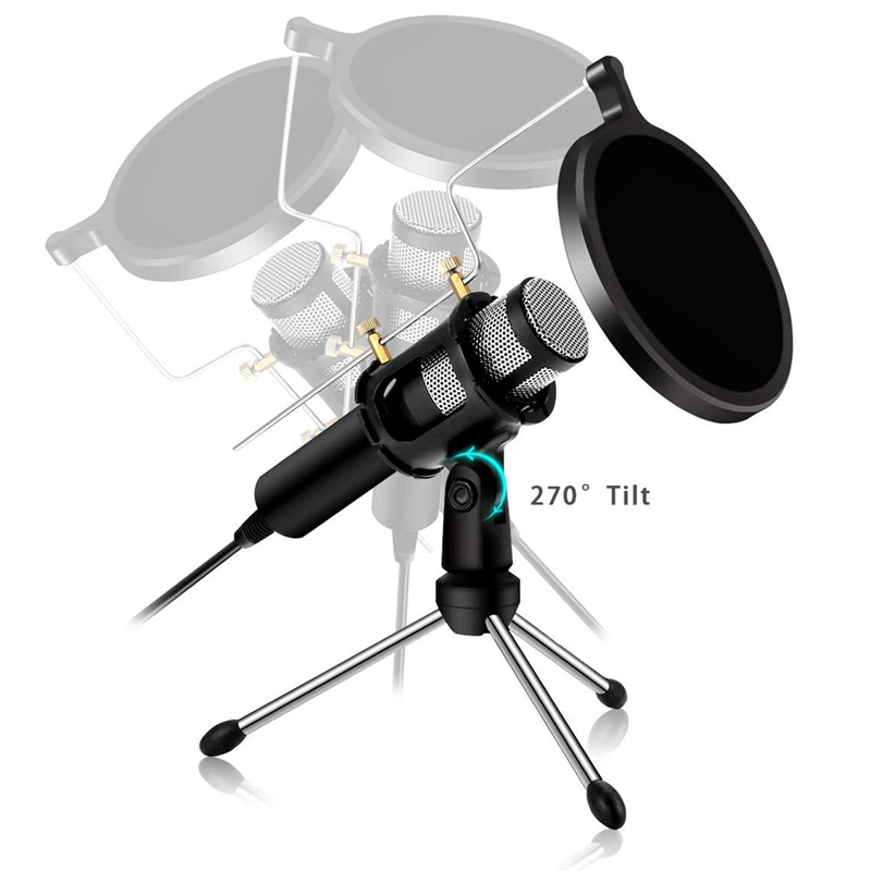 Condenser Microphone Computer Plug and Play Family Studio Recording over Usb Dual-Layer