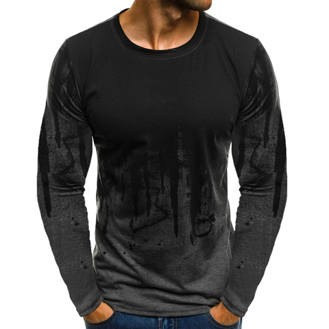 FLYFIREFLY Men Camouflage Printed  Male T Shirt Bottoms Top Tee Male Hiphop Streetwear Long Sleeve Fitness Tshirts Dropshipping Lahore