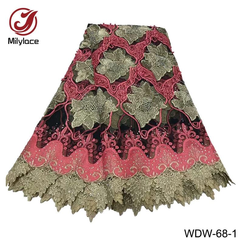 Tissu de dentelle africaine de haute qualité avec strass deux couleurs mélangé tulle français net dentelle tissu pour les vêtements des femmes WDW 68-in Dentelle from Maison & Animalerie    2
