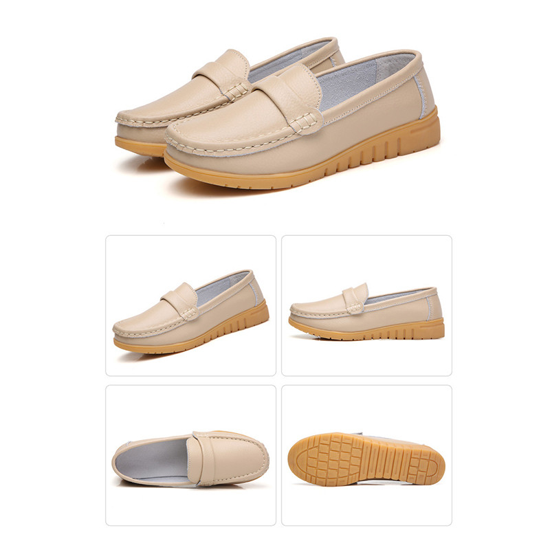 Image 5 - dobeyping New Genuine Leather Shoes Woman Slip On Women Flats Moccasins Women's Loafers Spring Autumn Mother Shoe Big Size 35 44-in Women's Flats from Shoes