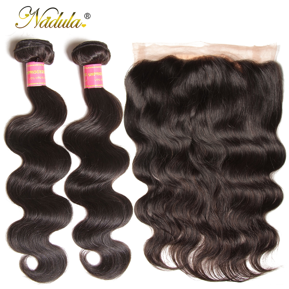Nadula Hair 2 Bundles Body Wave With 1Pcs 360 Lace Frontal Human Hair Brazilian Hair Weave Bundles With Closure Remy Hair