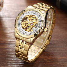 Hot Luxury Golden Rhinestones Dial Automatic Mechanical Watches For Men Full Steel Hollow Skeleton Clock Mens Wristwatch Relogio