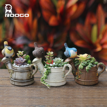 Roogo Fleshier plant flower pot polyresin flower pot meat flower pot цена