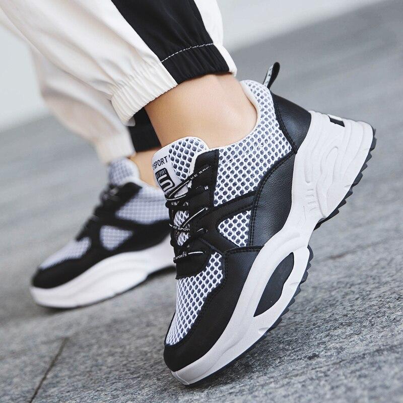 Frauen weiß 2019 Leder Neue Schwarzes Air Lässig Sport Solide Atmungsaktive Frau Turnschuhe Casual Mode Schuhe Frühjahr Mesh aqwAnBRPx