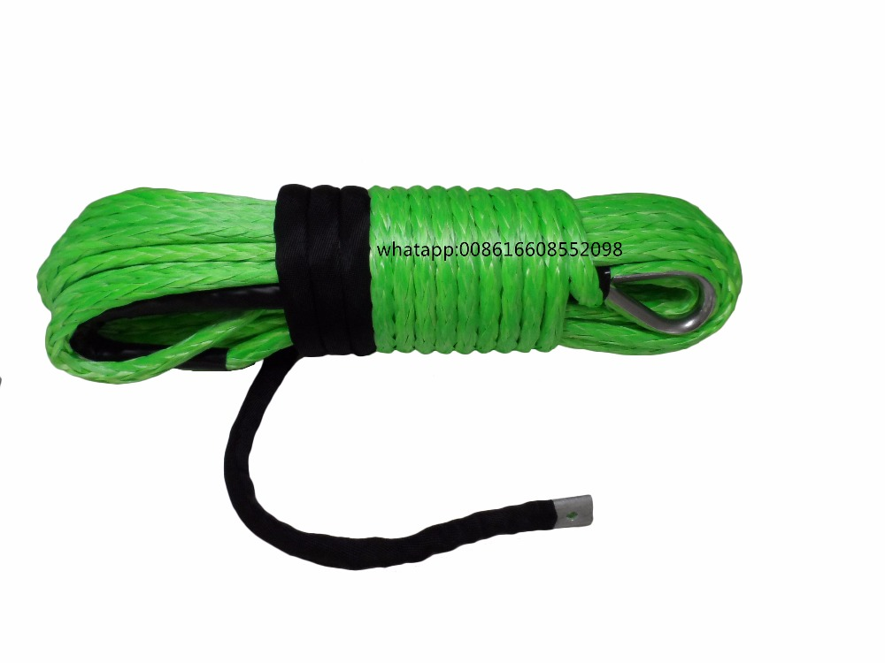 Free Shipping Green 3/8*100ft Synthetic Rope,Replacement Winch Cable 10mm for Electric Winches,Winch Line