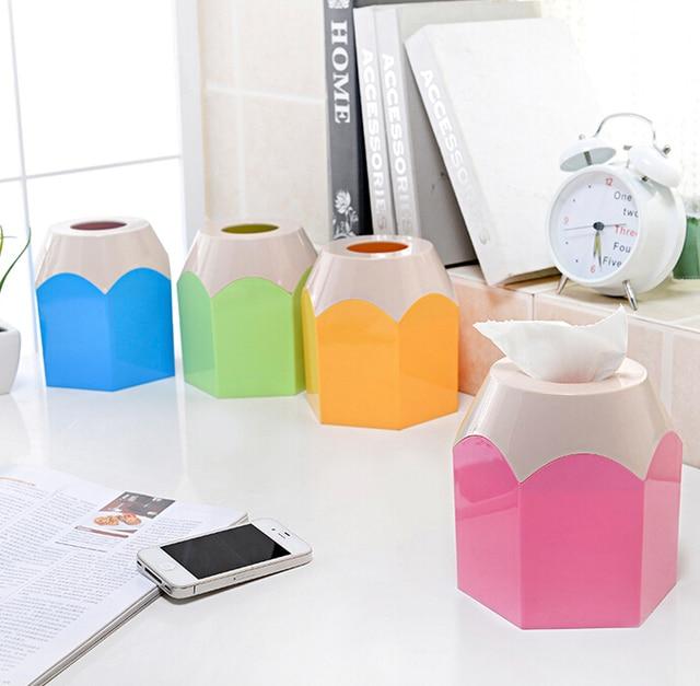 Creative Cute Colorful Pencil Design Tissue Holder Pumping Desktop Box Paper Car
