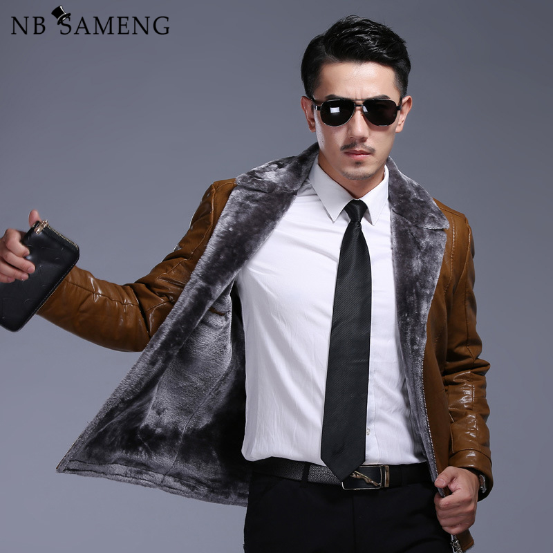 2017 New Winter Mens Leather Jackets Brand Clothing Black Fur Jacket and Coat with Turn-down Collar Zipper And Pocket