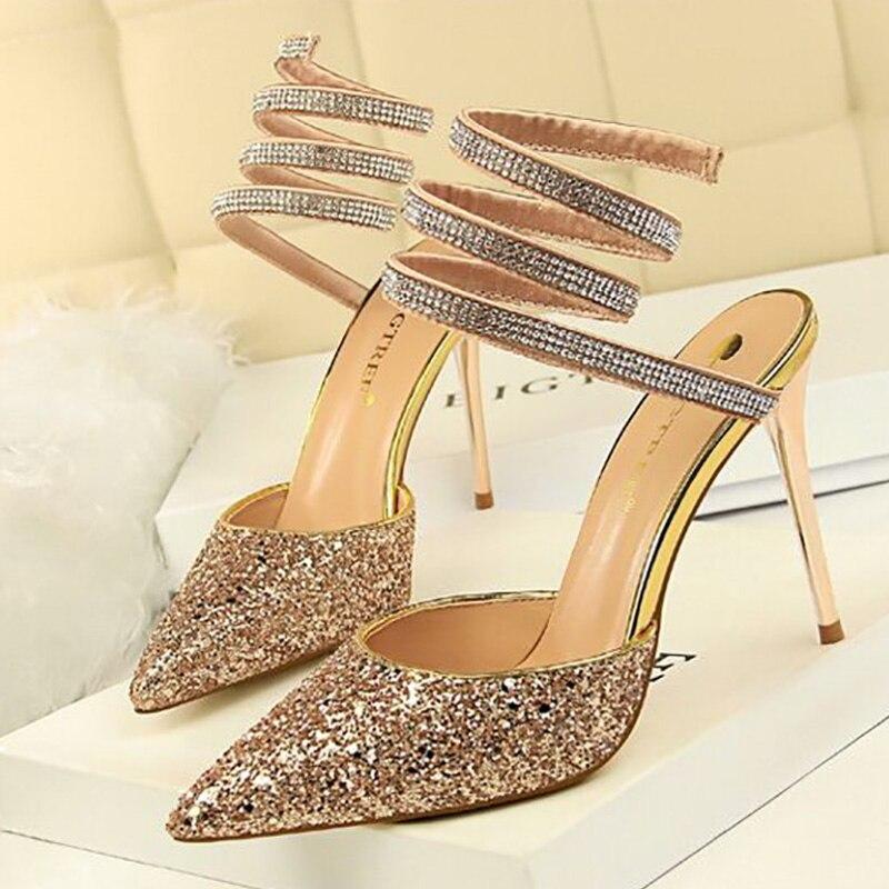 Women Shoes Stiletto Sequins High-Heel Nightclub Sexy Shallow Pu Bandage
