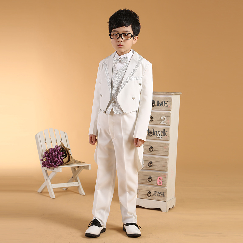 Boys dress suits black white wedding tuxedo silver gold for Boys dress clothes wedding