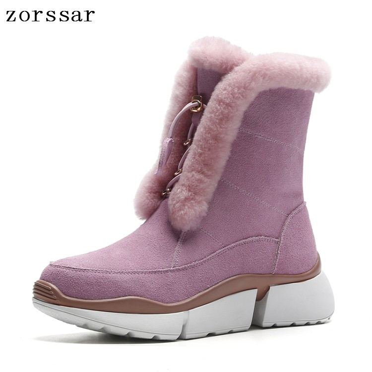 Zorssar 2018 Winter fur Women Shoes Woman Snow Boots warm Ankle Platform boots Fashion suede Ladies flat Boot Pink Footwear