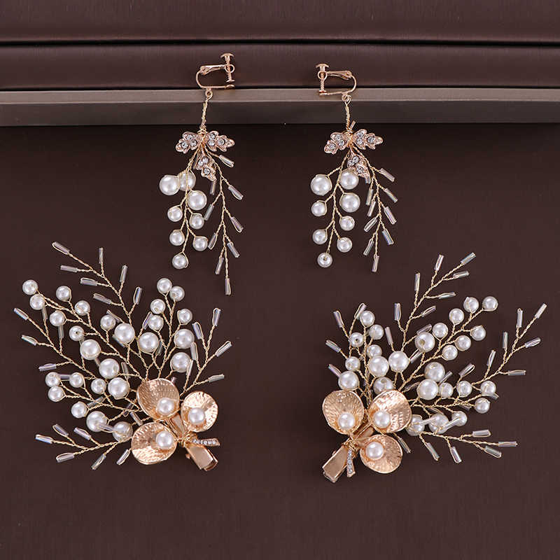 3 Pcs/Set Trendy Pearls Rhinestone Hairgrips Earrings Sets Gold Leaf Hair Clips For Women Bride Wedding Hair Jewelry Accessories