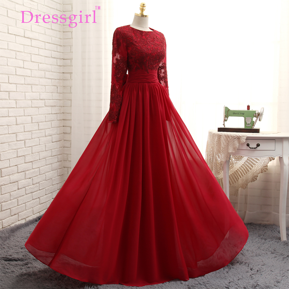 2016 Muslim Evening Dresses A line Long Sleeves Red Appliques Lace Hijab font b Islamic b