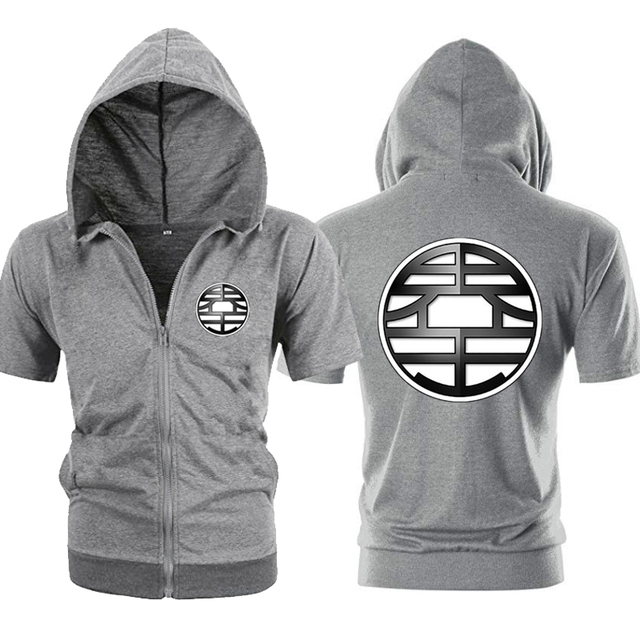 Casual Funny Print Dragon Ball Goku Hoodie Men Black Gray Cosplay Sweatshirt Fashion Short Sleeve Zipper Mens Hoodies Jackets 4