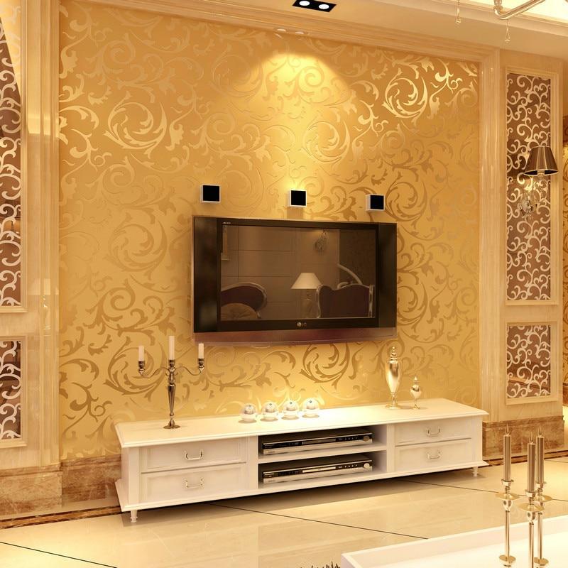 Papier peint de chambre à coucher de fleur de papier peint européen Non-tissé de papier peint de papier peint d'or 3D pour des murs, papier peint gris de parede para quarto