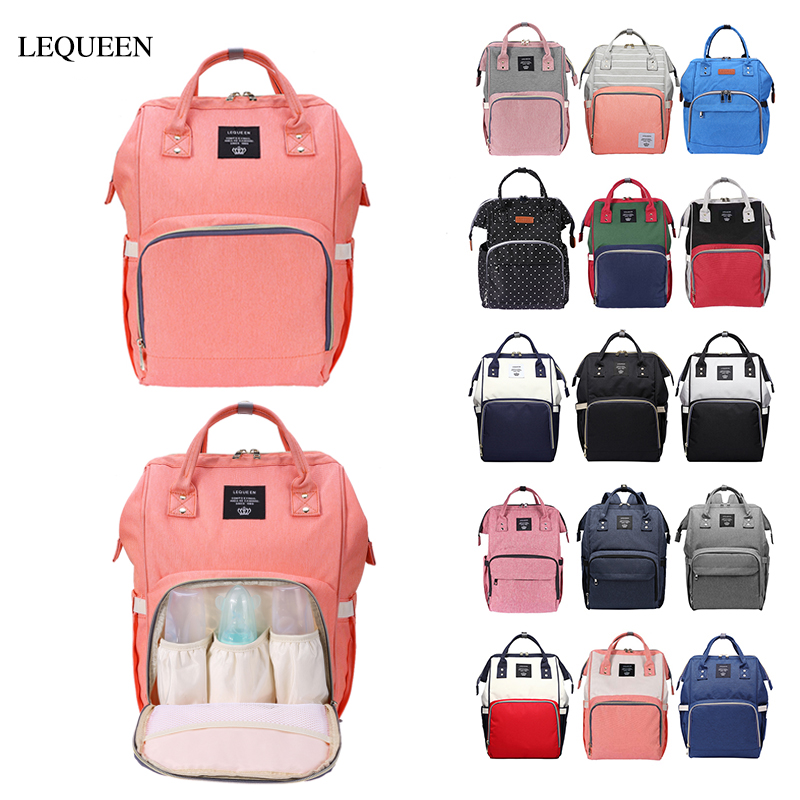 Original LEQUEEN Multifunctional Large Capacity Mummy Diaper Bag Baby Nursing Bag Maternity Baby Care Nappy Bag Travel Backpack