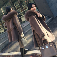 Office Lady Hooded Long Wool Coat Sashes Single Breasted  Wool Blend Coat and Jacket Loose  Women Coats Autumn Winter