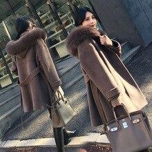 Ofis Bayan Kapşonlu Uzun Yün Ceket Sashes Tek Göğüslü Yün Karışımı Ceket ve Ceket Gevşek Kadın Mont Sonbahar Kış