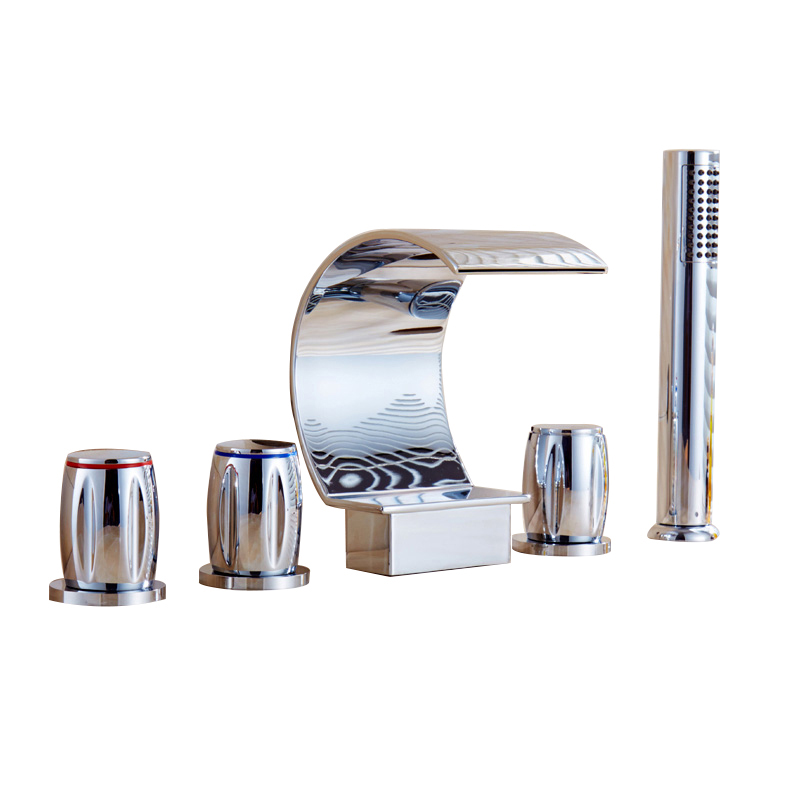 Bathtub Faucet Shower Brass Hot And Cold Deck Mounted Waterfall Faucets Rainfall Hand Hold Shower Five Pieces Bath Tub Faucet cold steel hand and a half sword санкт петербург